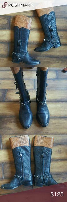 "Sam Edelman Park Boots Brown & Black Sam Edelman ""Park"" Boots with spiked harness Sam Edelman Shoes"