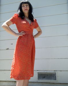 Vintage 40's Dress Rockabilly Red Sheer Leaf Print   $28.00  This looks more like a 70's / 80's version of a 40's style, but I'd love to have it just for the pattern.