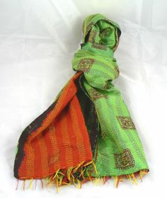 Indian Kantha Silk Scarf New with Vintage Textiles Green with Terracotta Red