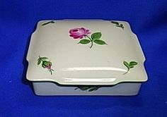 Vintage Austrian Augarten Wien Porcelain Box Handpainted Flower Motive #^