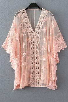 So Gorgeous! Pink Lace See-Through Bat-Wing Sleeve Blouse #Pink #Love_Pink #Lace #Gypsy #Hippie #Chic #BatWing #Kimono #Style #Top