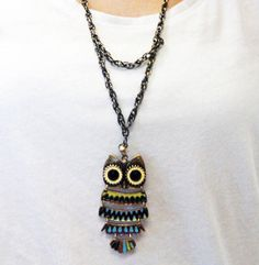 Long Owl Necklace  Boho Chic Metal Twist by ProlificCreations