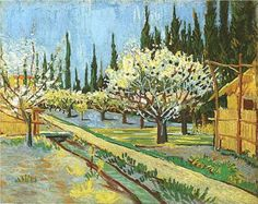 Vincent van Gogh : Orchard in Blossom, Bordered by Cypresses , 1888 ~Via Greg Wajs
