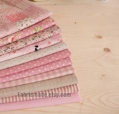 Bundle rose lin coton tissu Bundle - rose tissu Fat Quarter Bundle, 11 pièces de grands quarts de rose