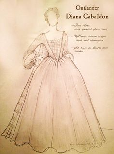 Sketches of Diana Gabaldon's dress (Iona McTavish) for The Gathering in episode 104 | from Outlander costume designer Terry Dresbach's blog