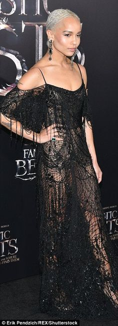 Zoe Kravitz. Gorgeous:The actress wowed in a see-through, floor length, black lace gown