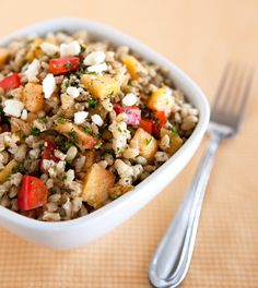 Peach & Walnut Barley Salad with feta.