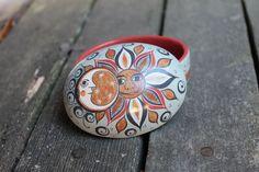 Exquisite Tonala Pottery Trinket Box, Sun & Moon Mexican Folk Art Hand Made!