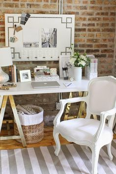Office Inspiration design - exposed brick - white gray - stripe rug - accessories - inspiration board www.roomviewblog.com