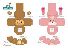 Printable Paper Animals Templates adorable animal printables There are total of 6 kinds of animals 500 x 423 · 32 kB · jpeg Printable Paper Crafts Templates paper craft cow. Christmas Paper Crafts, 3d Paper Crafts, Paper Toys, Diy Paper, Paper Art, Paper Cube, Happy Play, Paper Bag Puppets, Animal Templates