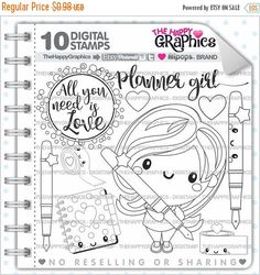 80%OFF - BIG SALE Planner Girl Stamps, Commercial Use, Digi Stamp, Digital Image, Planning Digistamp, Coloring Page, Planner Girl Cliparts