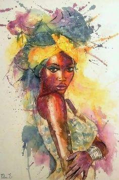 black girl art watercolor ~ schwarz… – Graffiti World Black Love Art, Black Girl Art, Art Girl, Graffiti Kunst, Art Beauté, Art Watercolor, Simple Watercolor, Afrique Art, African Art Paintings