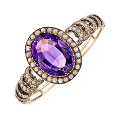 Antique Oval Amethyst Pearl Bangle | From a unique collection of vintage bangles at http://www.1stdibs.com/jewelry/bracelets/bangles/