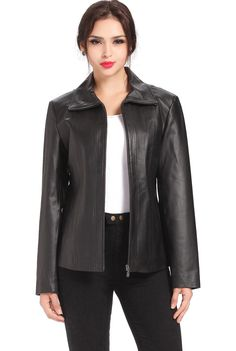 "BGSD Women's ""Tina"" Vertical Seam Leather Scuba Jacket. Check out this great style for $99.99 on Luxury Lane. Click on the image above to get a coupon code for 10% off on your next order."
