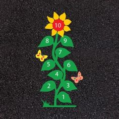 Playground markings - Sunflower Hopscotch Price: £195.00+VAT Product Code: Sunflower Hopscotch Size: 3.5m x 1m