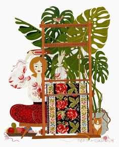 """""""Weaving"""", an illustration from last year. Watercolors and gouache paints on hot pressed watercolor paper. Kawaii Illustration, Graphic Design Illustration, Watercolor Illustration, Mosaic Portrait, Ukrainian Art, Cool Art Drawings, Botanical Art, Gouache, Watercolor Paper"""