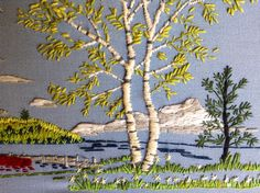 Embroidered Birch Tree.