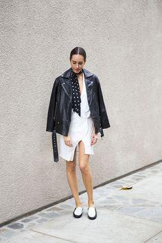 Front Roe by Louise Roe | Minimal Black & White Outfit | Oversized Boyfriend Biker Jacket