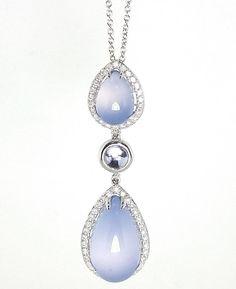 EFFY Designer 18K White Gold Blue Chalcedony and Diamond Drop Necklace Pendant  #EFFY #DropDangle