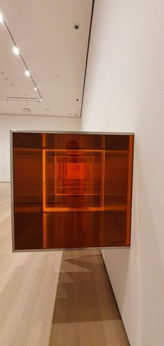 Donald Judd, untitled, 1968, stainless steel and amber Plexiglas, 86.4 x86.4 x 86.4 cm. #New York #MoMa #art #museum #DonaldJudd #red #orange #plexiglass #Plexiglas Moma Art, Moma Collection, Plexus Products, Art Museum, Amber, Stainless Steel, York, Orange, Red