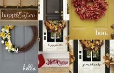 Seasonal Front Door Decals by WelcomingWalls on Etsy