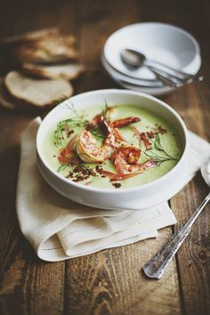 avocado cucumber soup w/ grilled shrimp.