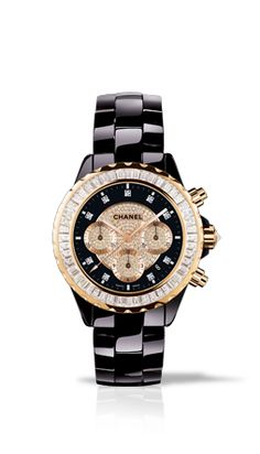 Chanel Watch - Black, gold and diamonds.  My loves!