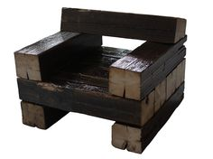 chair made from wooden railroad ties