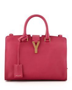 Y+Ligne+Cuir+Gras+Mini+Bag,+Fuchsia+by+Saint+Laurent+at+Neiman+Marcus.