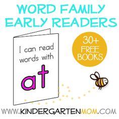 Free Beginning Reader Printables: Word Families & Rhyming Words