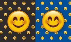 dos caras emoticon feliz, uno rodeado de otras caras felices, el otro por caras tristes