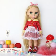 Red dresses for Disney Animator dolls.