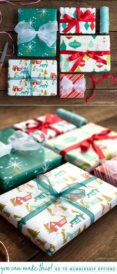 Retro Holiday Gift Wrap - Lia Griffith - www.liagriffith.com #spons #canon #retrochristmas #diychristmas #diyholidays #printables #giftwrap #diygiftwrapping #madewithlia