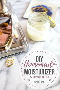 DIY Masque : Description With just 3 ingredients (coconut oil, shea butter + olive oil), this DIY homemade moisturizer will leave your skin soft, smooth + glowing! Add essential oils for a major boost! Homemade Face Moisturizer, Face Scrub Homemade, Moisturizer For Dry Skin, Homemade Skin Care, Diy Skin Care, Homemade Blush, Coconut Oil Moisturizer, Homemade Deodorant, Homemade Facials