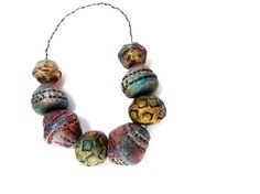 Spindle Whorl Inspired Round Beads - Ceramic Clay Bead Strand No. 153