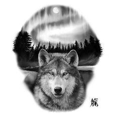 Alaskan Timberwolf set against Aurora Borealis. Wolf And Moon Tattoo, Wolf Tattoo Sleeve, Grey Tattoo, Black Tattoos, Body Art Tattoos, Sleeve Tattoos, Tattoo Wolf, Circle Tattoos, Wolf Moon