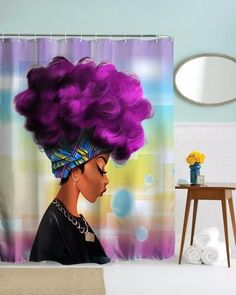 Do you love your natural Hair growth? Show your support of your natural hair journey with this beautiful purple high-puff shower curtain. Amazing Bathroom Decorations!
