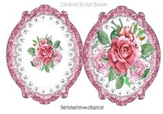 pretty rose painted roses on lace ornate frame on Craftsuprint - View Now!
