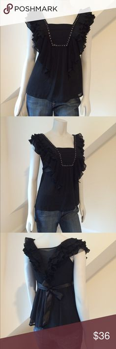 NWT MM Couture by Miss Me NWT MM Couture by Miss Me...sleeveless blouse perfect with jeans for a night out...two layers of sheer chiffon...accordion pleat ruffles...seed bead and rhinestone accent square neckline...sheer back panel...side zipper...satin ribbon tie-back. Retail $99 MM Couture Tops Blouses