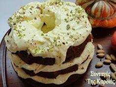 Κέικ με κολοκύθα και μήλο -  Cake with pumpkin and apple Bagel, Bread, Food, Breads, Baking, Meals, Yemek, Sandwich Loaf, Eten