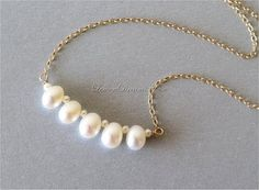 Freshwater Pearl Bar Necklace, Choker Necklace, Dainty Necklace, White Top-drilled Rice Pearls, Tiny Potato Pearls, Gold-filled Chain. N187.