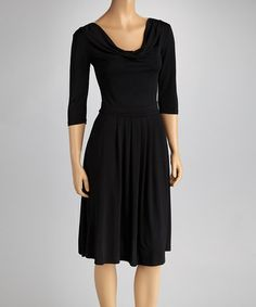 Take a look at this Black Three-Quarter Sleeve Dress by Reborn Collection on #zulily today!