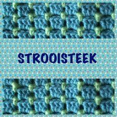 De Strooisteek of Bloksteekis een steek die bestaat uit twee toeren die je telkens herhaalt. Een uitleg met een leuk patroon voor een tas vind je hier ...