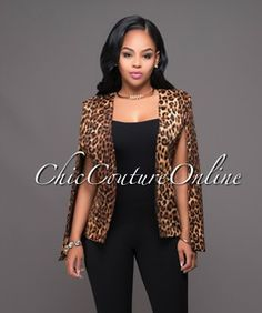 Dolce Leopard Print Luxe Cape Jacket