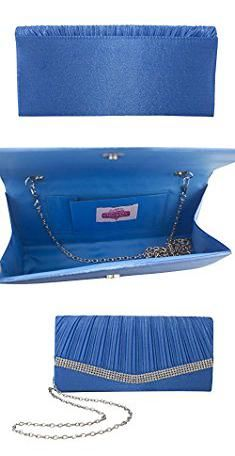 896d826f30eca Teal Clutch Bag. Chicastic Teal Blue Pleated Satin Wedding Evening Bridal Clutch  Purse With Rhinestones