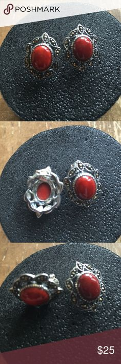 Sterling Silver Marcasite & Red Coral Earrings New Jade NY .925 Sterling Silver Marcasite & Red Coral Earrings Jewelry Earrings