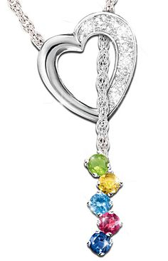 Mothers heart necklace with up to 8 birthstones
