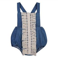Summer Newborn Baby Girls Denim Tassel Romper Kids Back Cross Jumpsuit Outfits Sunsuit Clothes