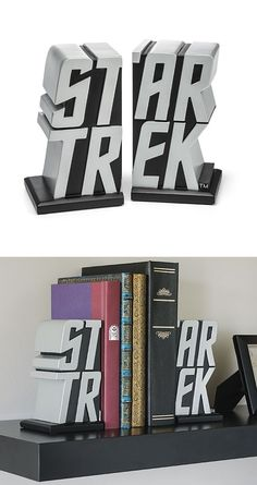 Star Trek Bookends | I should buy all the Star Trek Series and put them between these book ends :)