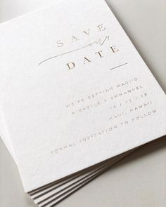 SAVE OUR DATE In gold and white 💫 ― #design #weddingstationery #bespoke #luxe #modernbride #gold #minimal